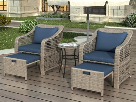 5-Piece Outdoor Conversation Set With Stools And Tempered Glass Table