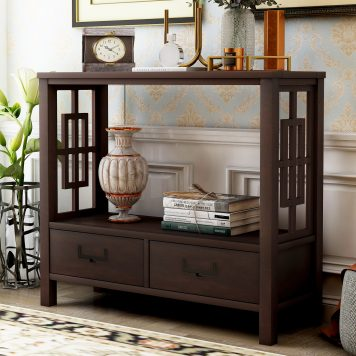 Console Sofa Table with Two Bottom Drawers