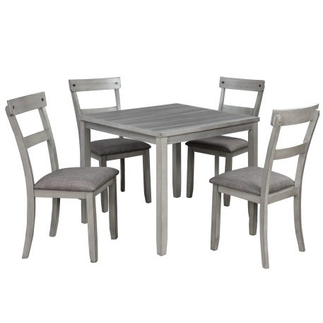Industrial Kitchen Table And 4 Chairs,5 Piece