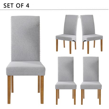 Fabric Padded Side Dining Chairs,Set Of 4