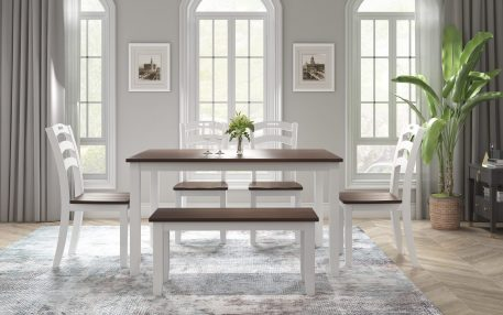 6 Piece Dining Table Set With Bench, Table Set