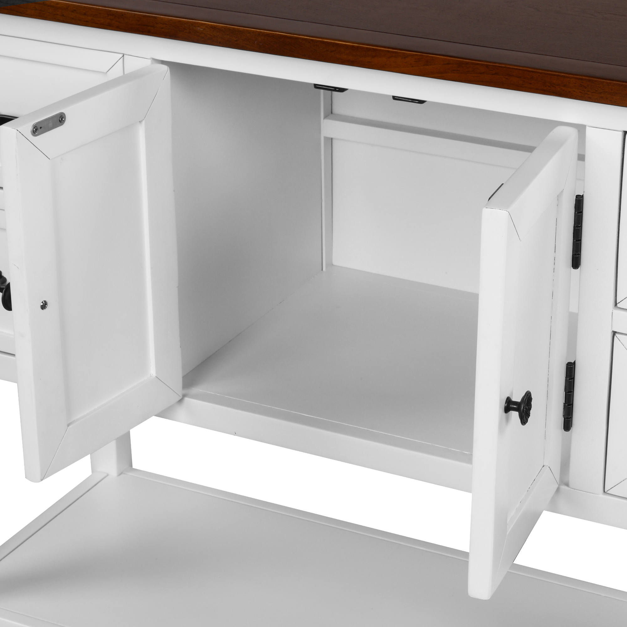 43'' Modern Console Table  Sofa Table For Living Room With 4 Drawers, 1 Cabinet And 1 Shelf