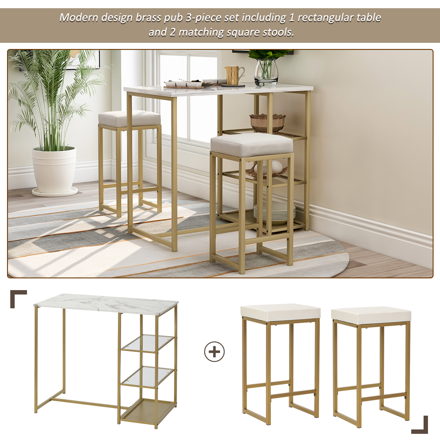 3-Piece Modern Pub Set With Faux Marble Countertop And Bar Stools