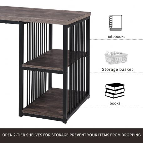 """55"""" Writing Desk With 2 Storage Shelves"""