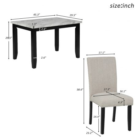 Faux Marble 5-Piece Dining Set