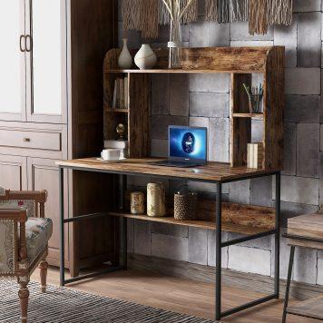 "47"" Modern Writing Desk With Storage Shelves"