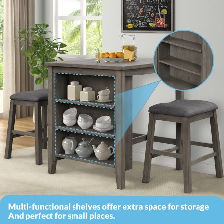 3 Piece Square Dining Table Set