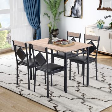 Wood Kitchen Table And 4 Leather Dining Chair