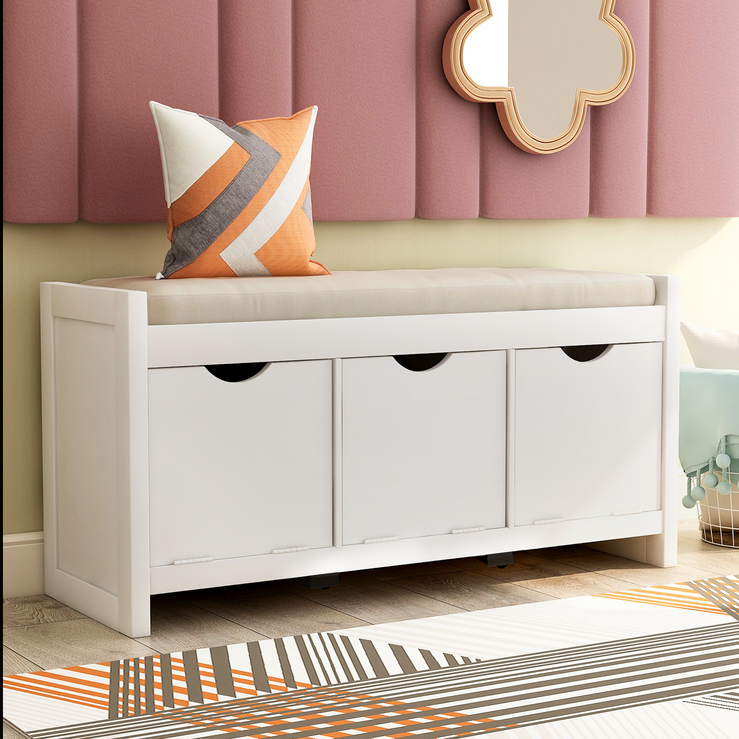 Storage Bench With Removable Cushion And Lock Storage