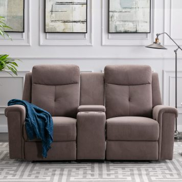 Polyester Fabric Loveseat With Storage Box And Two Cup Holders