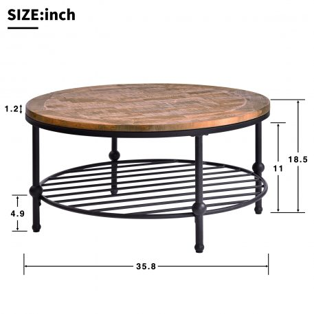 Round Rustic Natural Coffee Table With Storage Shelf