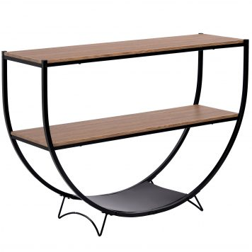 Metal Distressed Wood Console Table