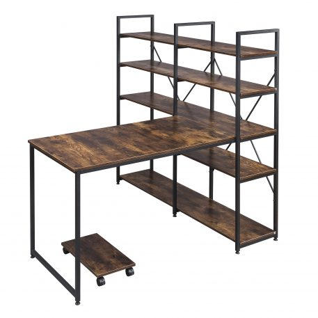"54"" Large Computer Desk With 5-Tier Shelves"