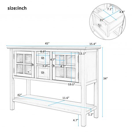45'' Modern Console Table With 2 Drawers, 2 Cabinets And 1 Shelf