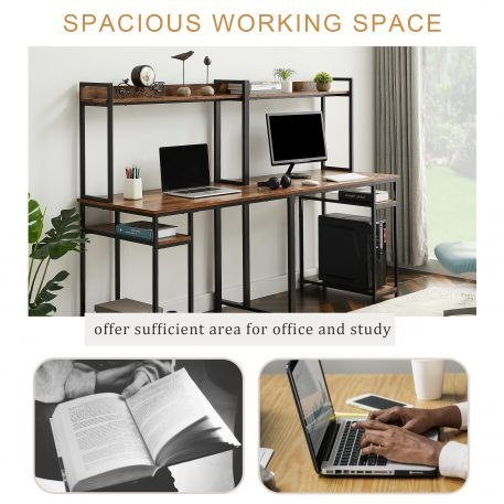 Two Person Computer Desk With Storage, Spacious Tabletop