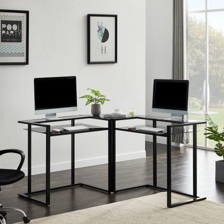 "56"" L-Shaped Glass Desk With Shelf"