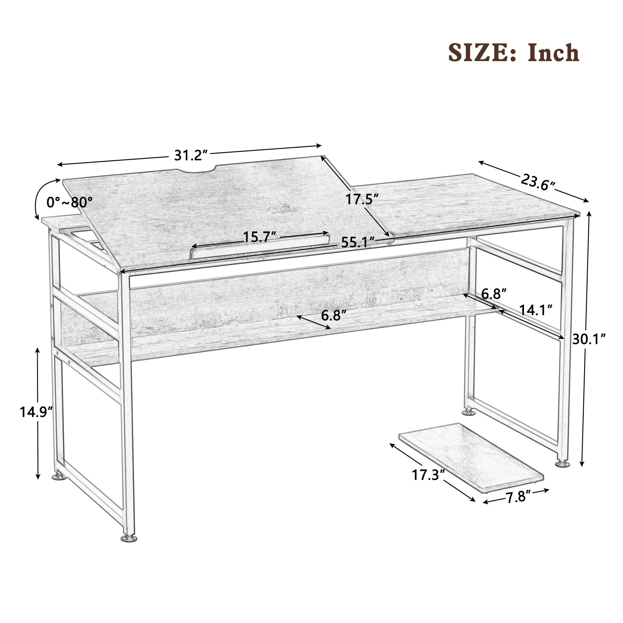Large Draft Drawing Table With Tiltable Board And Bottom Bookshelf
