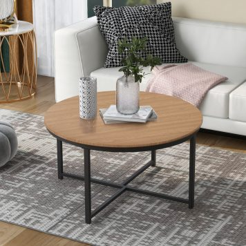 """35.4"""" Rustic Design Round Coffee Table"""