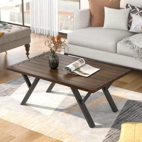 43'' Rustic Coffee Table, Wood Top And Metal Legs