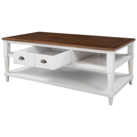 Mordern Coffee Table With 1 Drawer, 1 Shelf And Metal Knobs