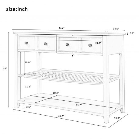 Entryway Table With Two Shelves And Drawers