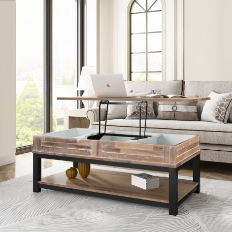 Lift Top Coffee Table With Inner Storage Space And Shelf