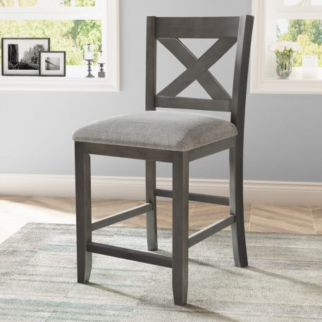 Counter Height Dining Room Wooden Bar Chairs, Set Of 2