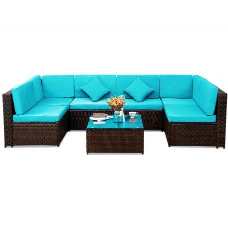 7 Pieces Garden Corner Sofa Set