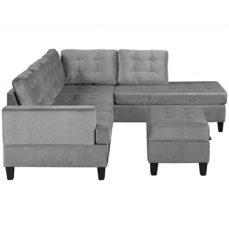 Upholstery Sectional Sofa With Storage Ottoman