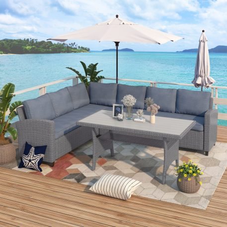 Patio PE Rattan Wicker Conversation Set With Table & Cushion