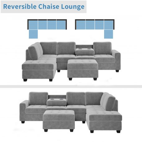 L-Shaped Couch Set With Storage Ottoman And Two Cup Holders