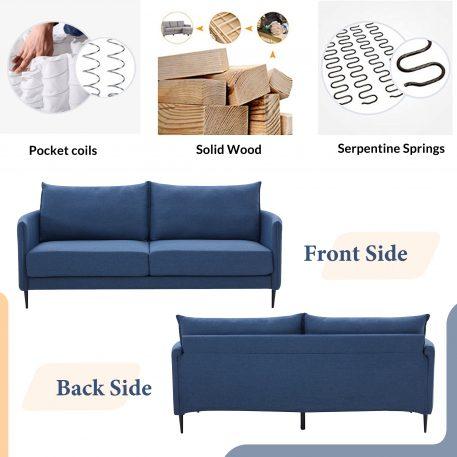 """65.8"""" Soft Linen Upholstery Loveseat"""