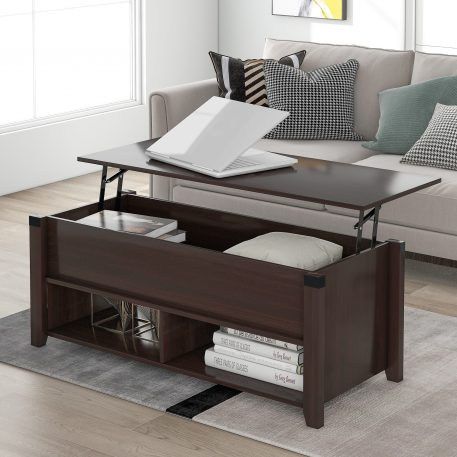 Lifting Top Table With Drawers, Shelf And Storage