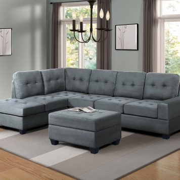 3 Piece Sectional Sofa Microfiber With Reversible Chaise Lounge Storage Ottoman And Cup Holders