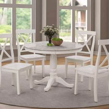 5 Piece Dining Set Rubber Wood, 1 Table With Marble Top And 4 Chairs