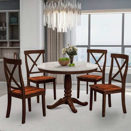 5 Piece Dining Set Rubber Wood, 1 Table With Marble Top, 4 Chairs