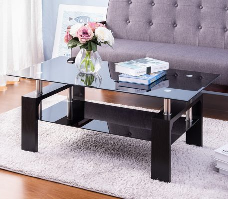 Black Highlight Glass Top Cocktail Coffee Table With Wooden Legs