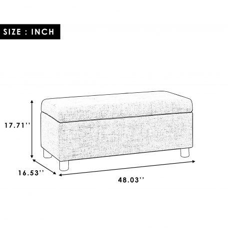 Tufted Linen Fabric Ottoman Storage Bench