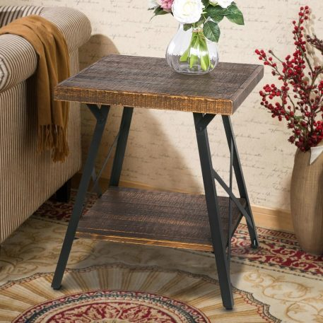 Solid Wood Coffee Table With Metal Legs