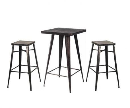 Rectangular Distressed Metal Bar Table
