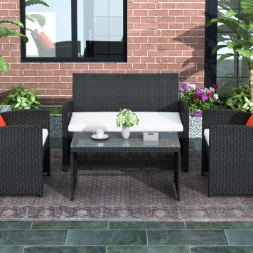 4 Pieces Outdoor Patio Set All-Weather Rattan Loveseat and Chairs