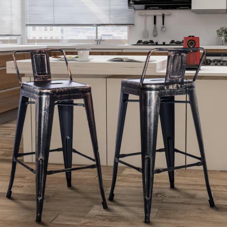 Low Back Metal Chair Barstool, Set Of 2
