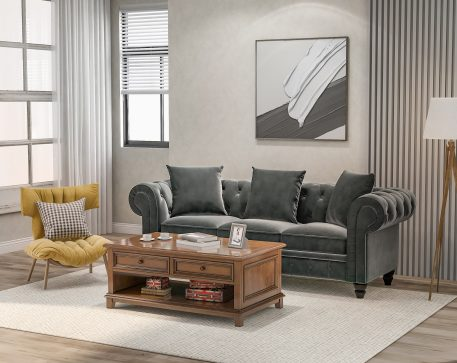 """80"""" Chesterfield 3 Seat Sofa, 3 Pillows included"""