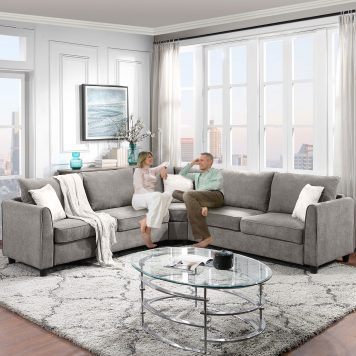 L-Shape Sectional Sofa Couch, 3 Pillows Included