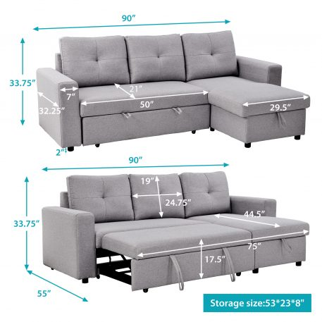 """90"""" Reversible Pull out Sleeper, L-Shaped"""