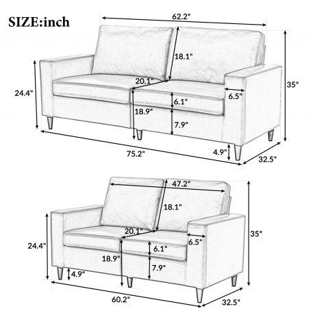 PU Leather Upholstered 3 Seat Sofa And Loveseat