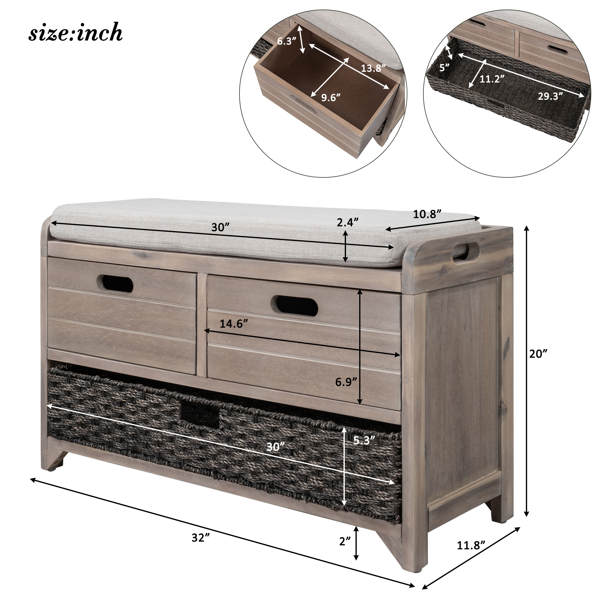 Storage Bench With Removable Basket And 2 Drawers