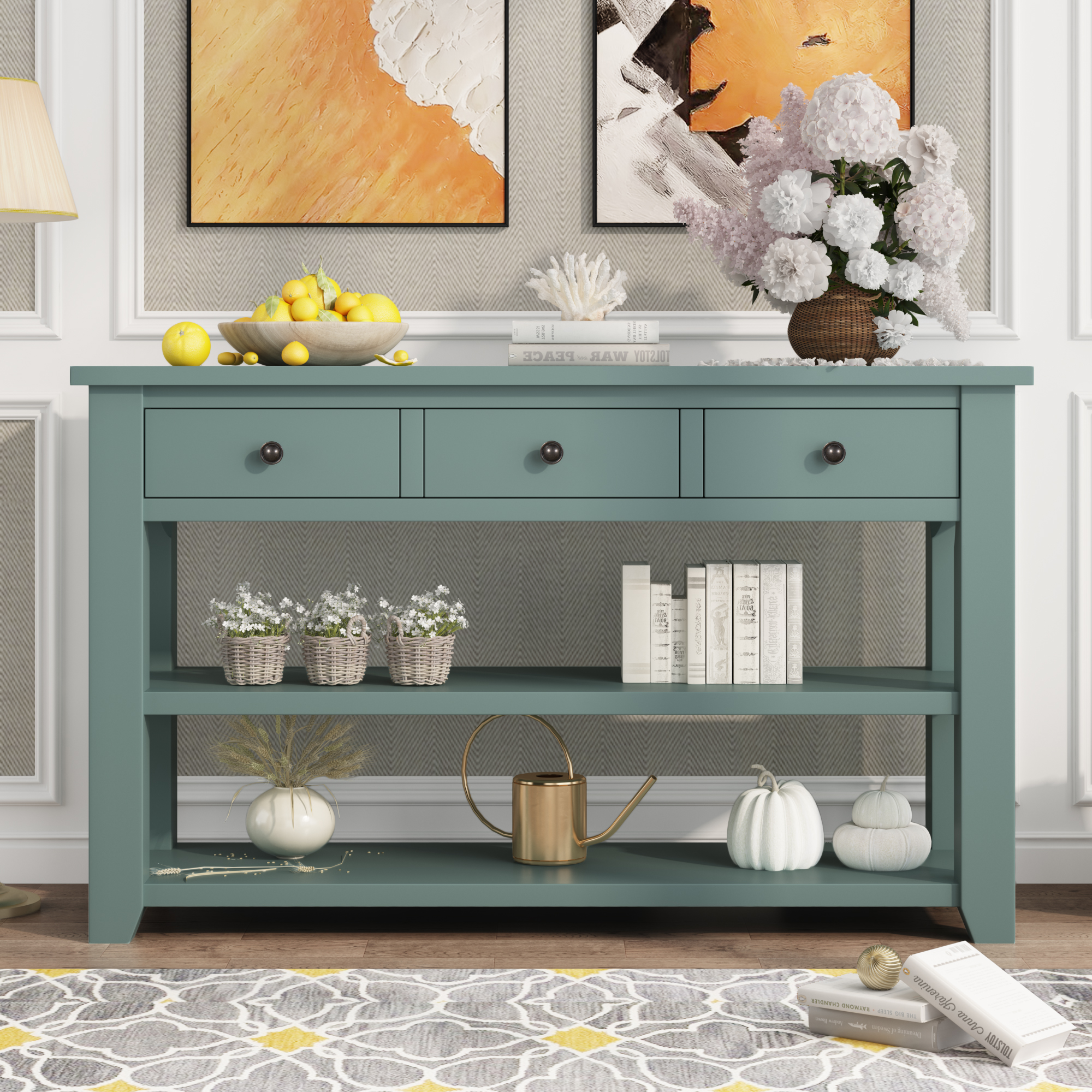 48'' Console Table With 3 Drawers And 2 Shelves