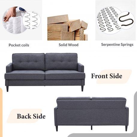 """71"""" Modern Design Soft Linen Upholstery Loveseat"""