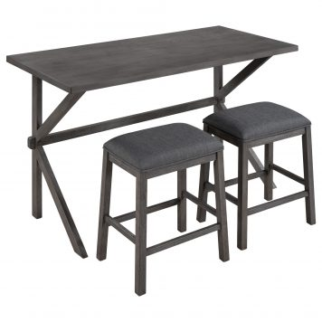 3-Piece Counter Height Wood Kitchen Dining Table Set